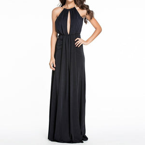 #D60010 Black Silky Jewel Halter Jersey Evening Dress
