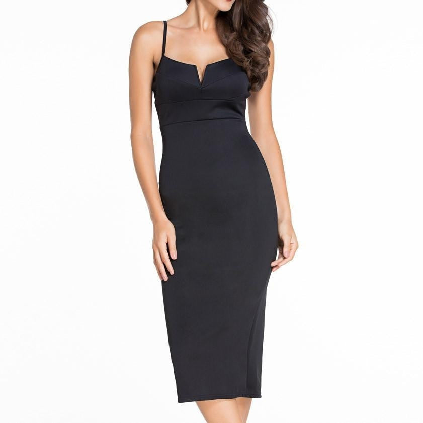 #D60018 Black Plunging V Neck Midi Dress
