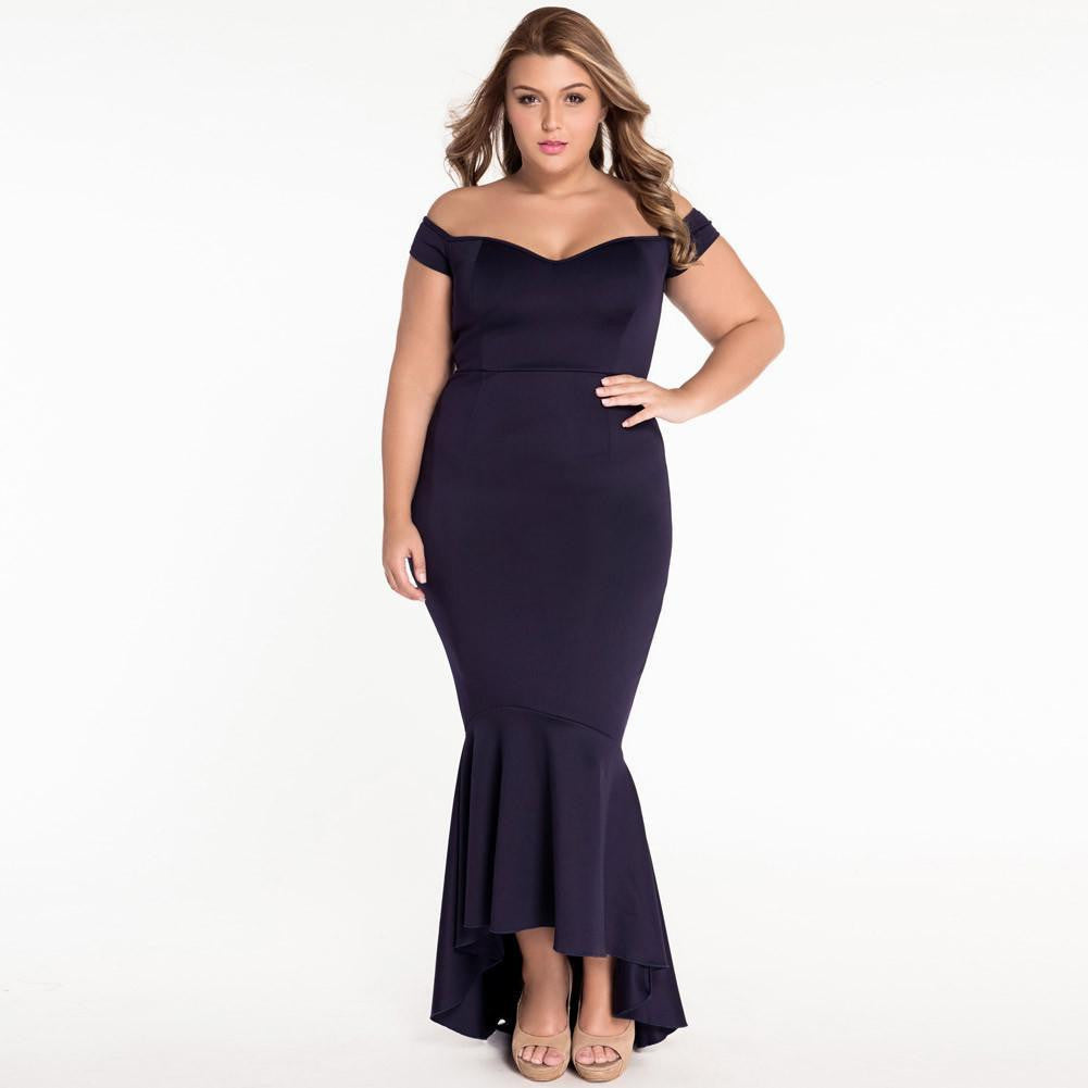 #D60172 Black Off-shoulder Mermaid Jersey Evening Dress