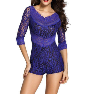 #D60412 Blue Lace Overlay Off-shoulder Romper
