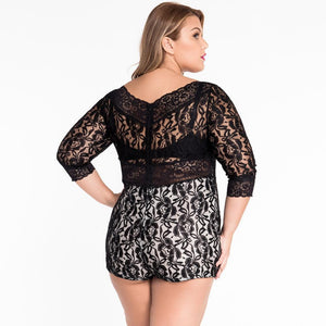 #D60412 White Lace Overlay Off-shoulder Romper