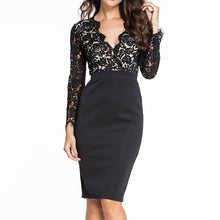 #D60798 Black Lace Nude Illusion Long Sleeves Dress