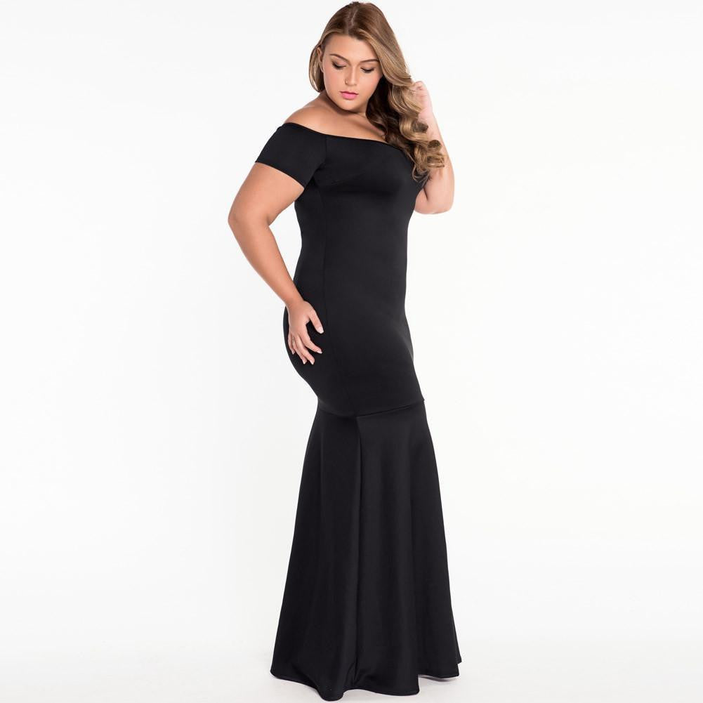 #D60885 Black Plus Size Off Shoulder Fishtail Maxi Dress