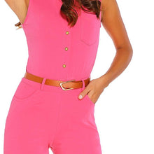 #D60933 Rosy Belted Wide Leg Jumpsuit