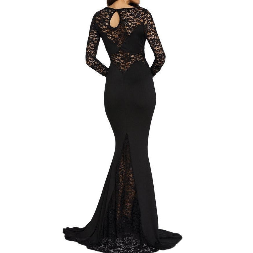 #D61010 Black Long Lace Sleeve Mermaid Prom Dress