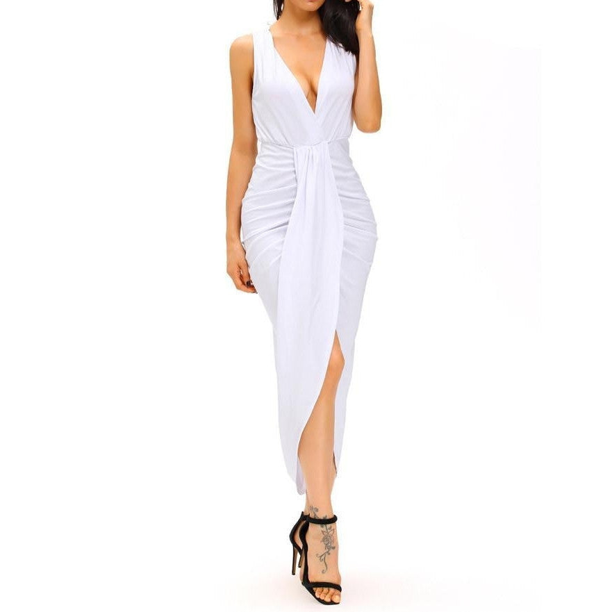 #D61051 White Draped Slit Front Maxi Dress