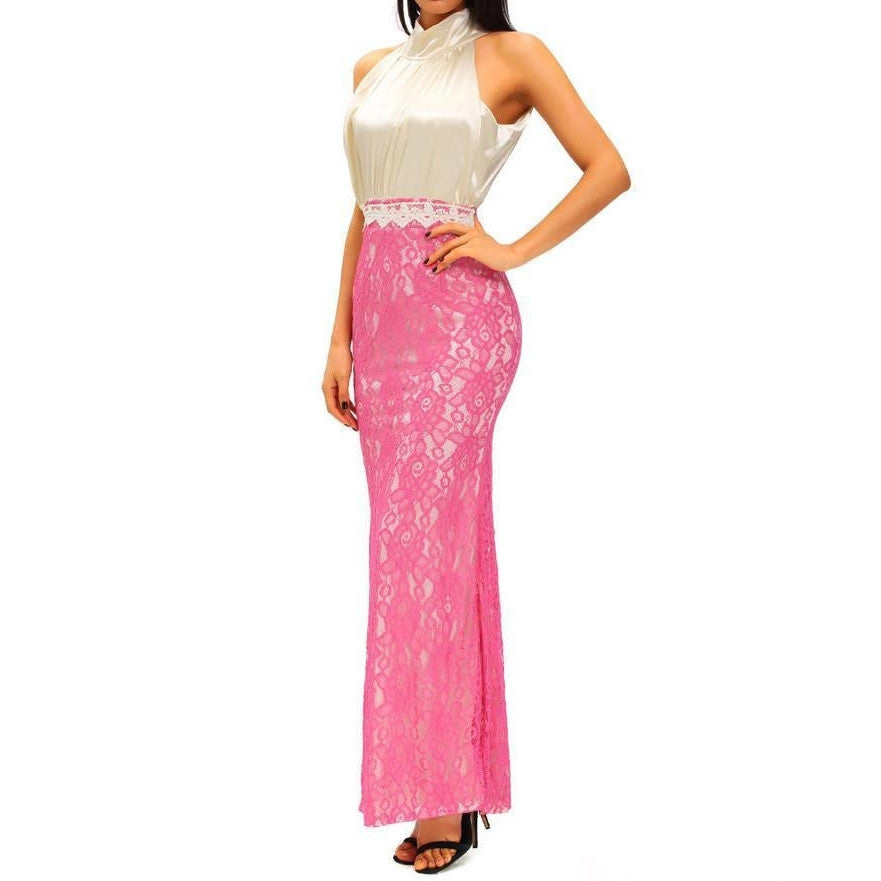 #D61182 High Neck Silk Lace Fishtail Evening Dress