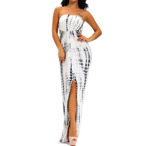 #D61183 Monochrome Tie Dye Sexy Cutout Maxi Dress