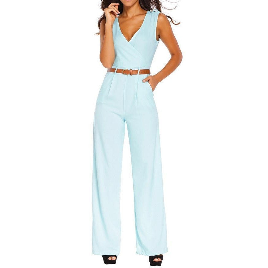 #D64004 Light Blue V Neck Belt Embellished Jumpsuit