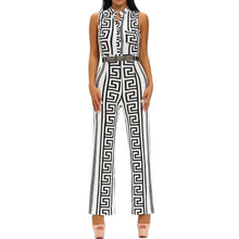 #D64022 White Print Gold Belted Jumpsuit