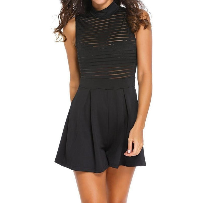 #D64042 Black Sleeveless Sheer Stripes Romper