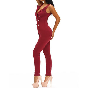 #D64050 Red Sexy Sleeveless Button Sides Bodycon Jumpsuit