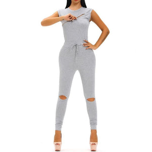 #D64056 Creative Zip Line Gray Stretchy Jumpsuit