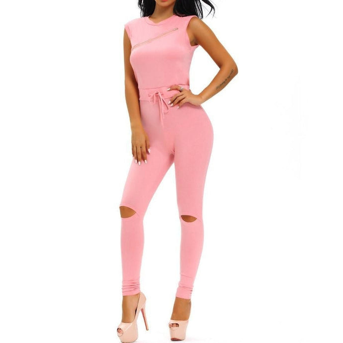 #D64056 Creative Zip Line Pink Stretchy Jumpsuit