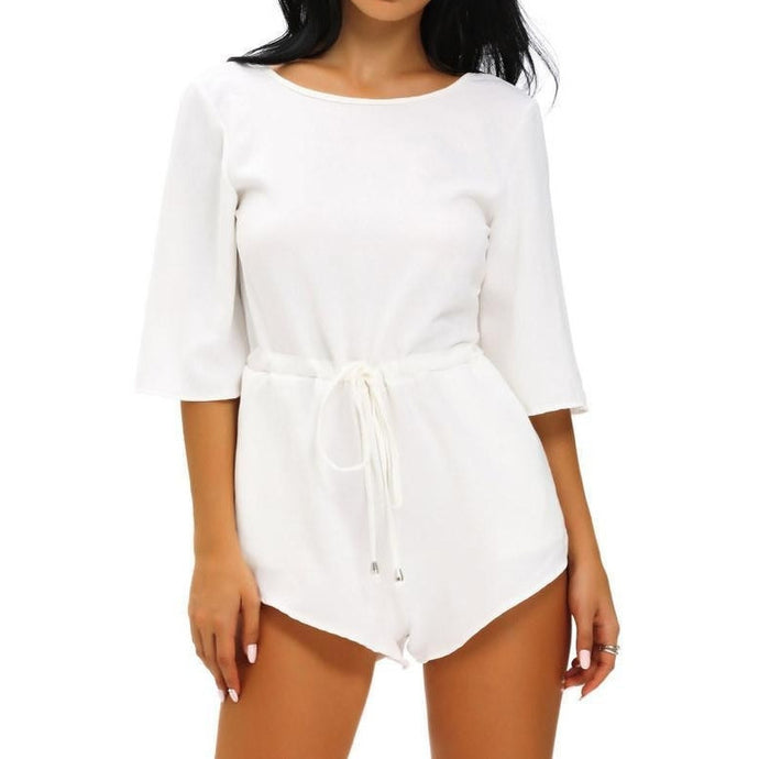 #D64058 White Drawstring Knot Open Back Romper
