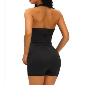 #D64073 Black Baby Doll Short Stretchy Romper