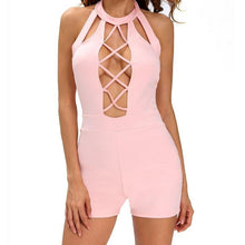 #D64073 Pink Baby Doll Short Stretchy Romper