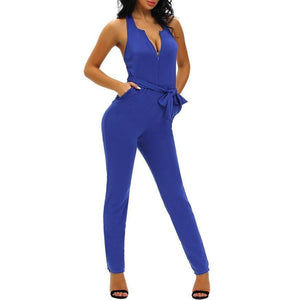 #D64084 Blue Halter V Neck Zipped Front Jumpsuit