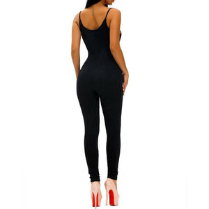 #D64107 Black Spaghetti Straps Simple Stretch Jumpsuit