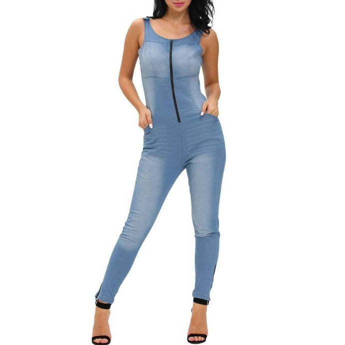 #D64109 Denim Stretch Zipper Jumpsuit