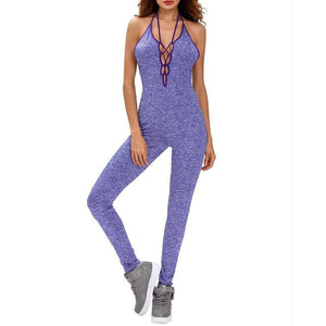 #D64120 Blue Chase Open Back Lace-up Jumpsuit