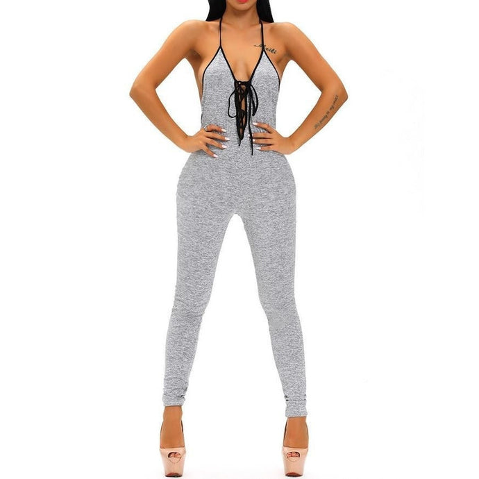 #D64120 Gray Chase Open Back Lace-up Jumpsuit