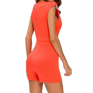 #D64126 Orange deep V neck Sleeveless Romper
