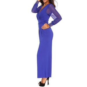 #D6651 Blue Embellished Cuffs Long Mesh Sleeves Jumpsuit