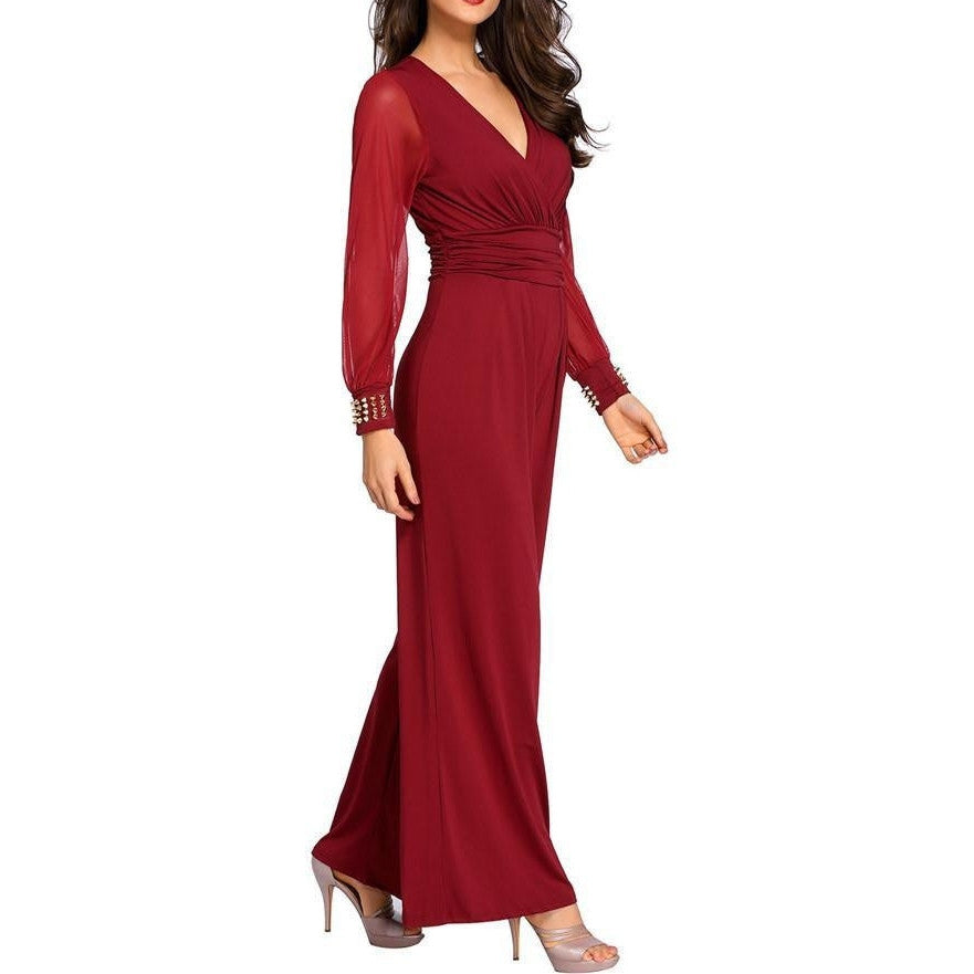 #D6651 Red Embellished Cuffs Long Mesh Sleeves Jumpsuit