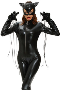 #D8909 Fierce Wet Look Halloween Catsuit Costume-GirlyPlaces