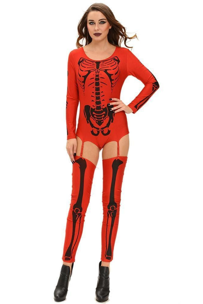#D8949 Red Bad To The Bone Halloween Skeleton Costume