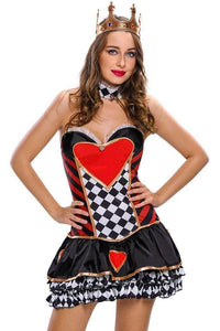 #D8969 2pcs Sexy Queen of Hearts Cosplay Costume