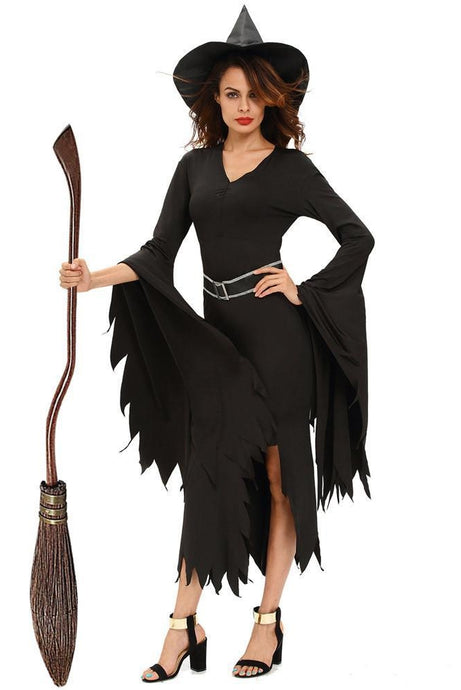 #D8984 All Black Gothic Witch Halloween Costume