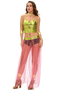 #D8991 Green Pink 6pcs Slave Princess Costume