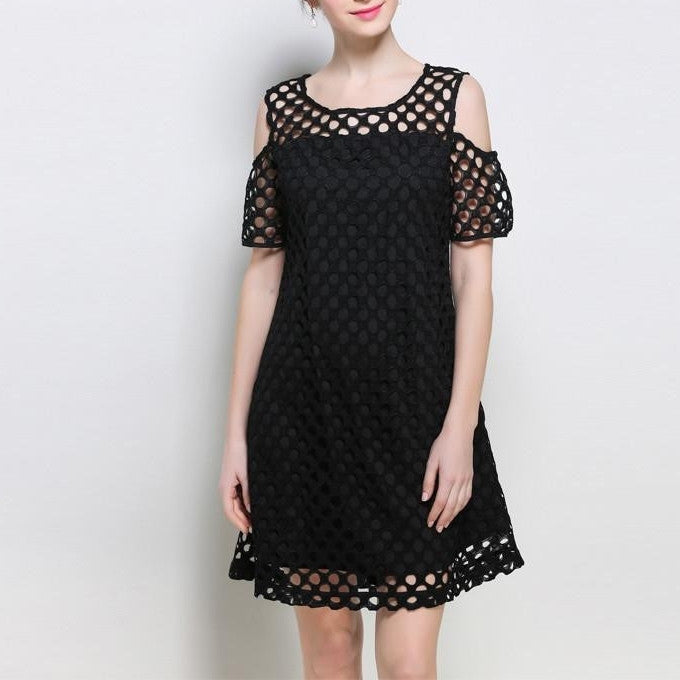 eZRD3288 Crochet Cold Shoulder Dress