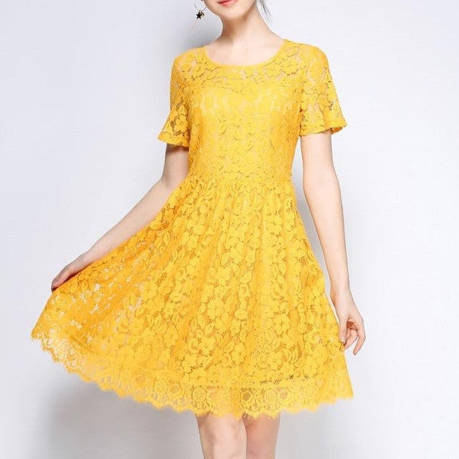 gZRD3557 Floral Lace Round Neck Dress