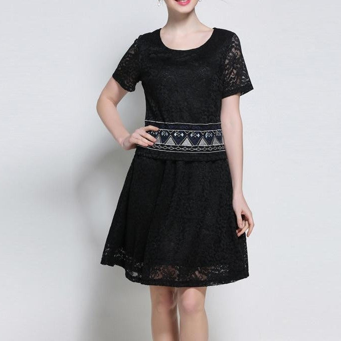 lZRD3322 Patterned Lace Top with Skirt