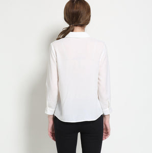 rIMB100109 Solid Color Long Sleeve Blouse With Lapels