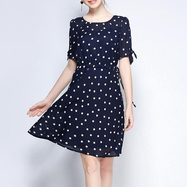 sZRD3531 Polka Dotted Tie Sleeve Dress