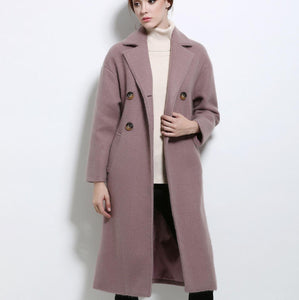 wIMC10034 Lapel Long Wool Coat