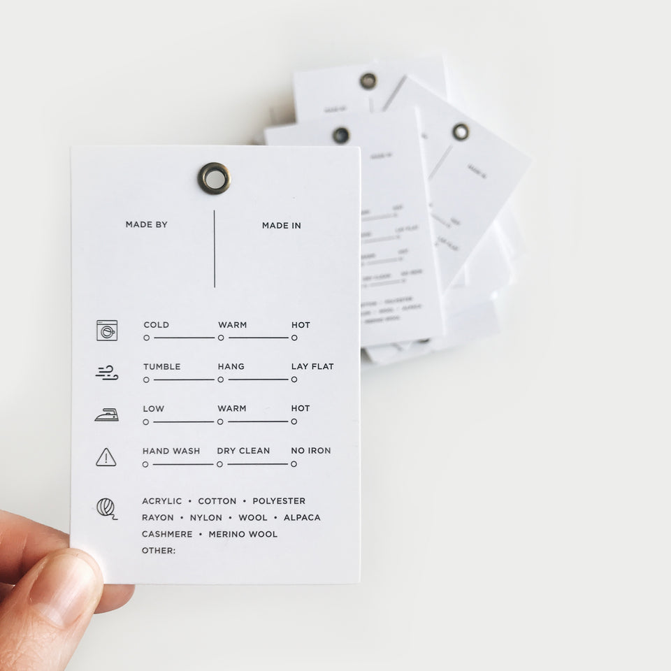 Printable, Care Instructions Tag