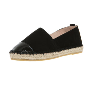 Black suede and leather espadrilles