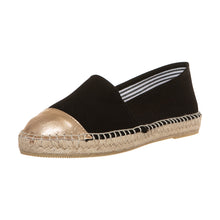 Black cotton and gold leather espadrilles