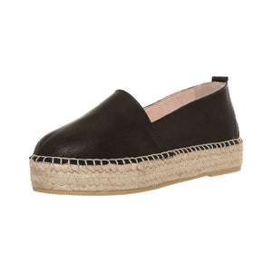 Black leather platform espadrilles