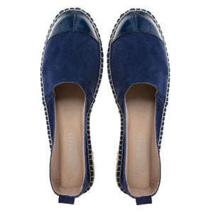 Navy blue suede and leather espadrilles