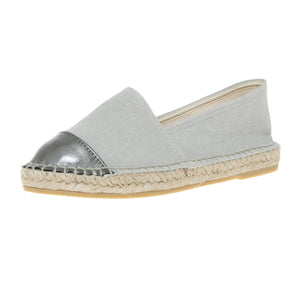 Grey cotton and grey leather espadrilles