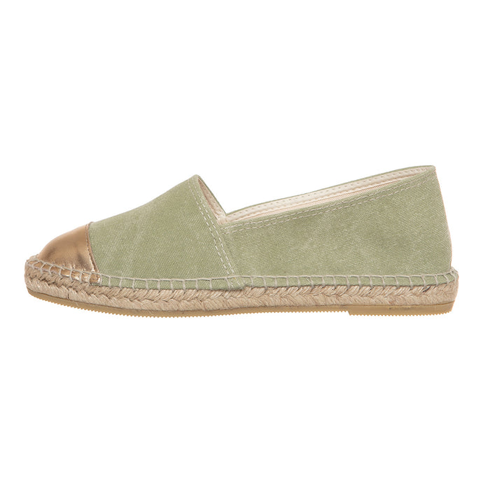 Khaki cotton and gold leather espadrilles