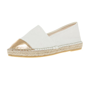 Off-white cotton and gold leather espadrilles