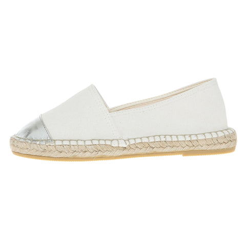 Off-white cotton and silver leather espadrilles