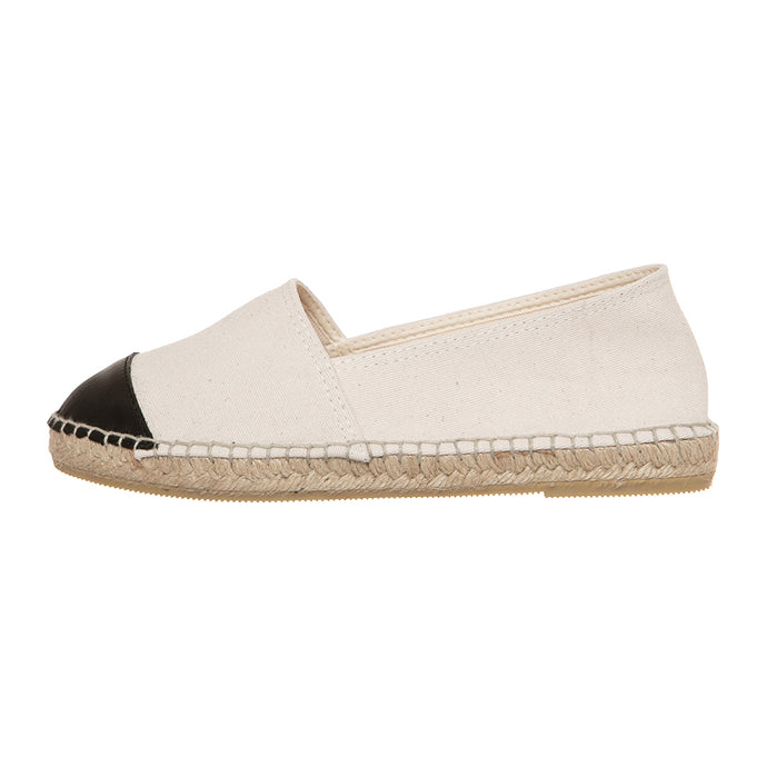 Off-white cotton and black leather espadrilles